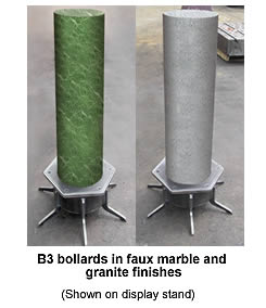 The B-Cube Bollards in Faux Marble and Granite Finishes